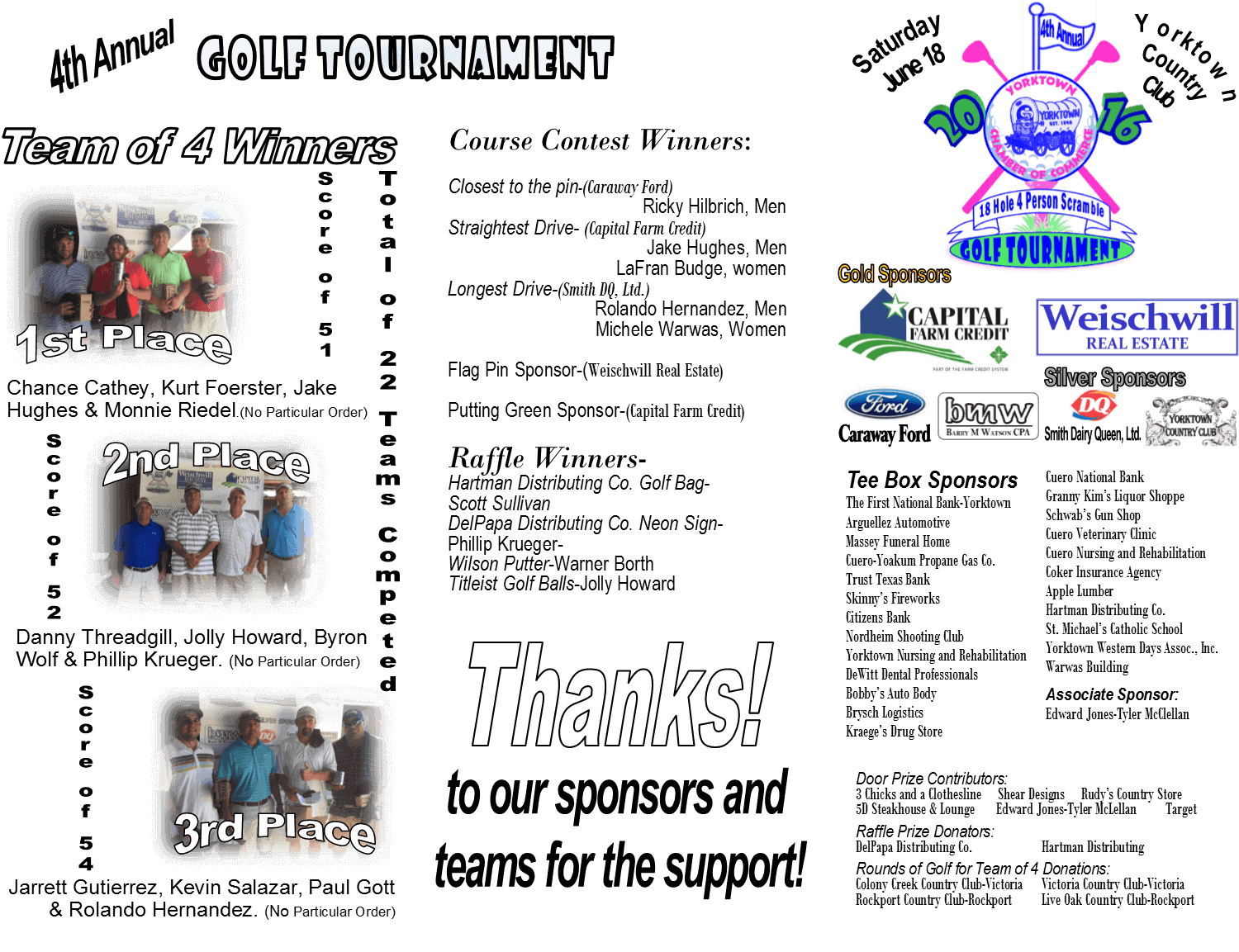 Golf Tournment winners